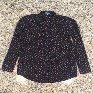 Pim + Larkin Navy Blue & Brown Button Up Shirt M